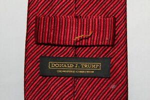 DONALD J TRUMP 100% Silk Reds Striped Tie