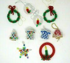 Vintage Christmas Ornaments Beaded Handmade Lot