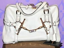 GUCCI 85th ANNIVERSARY Snaffle Horsebit Boston Tote Shoulder Hand Bag Ivory GHW!