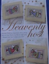JOAN ELLIOTT'S HEAVENLY HOST 4 FOLK-ART ANGEL CHRISTMAS CARDS CROSS STITCH CHART