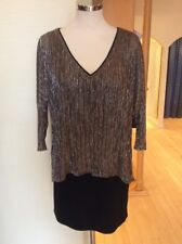Joseph Ribkoff Top Size 14 Black Gold Silver Layered Now