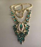"Vintage Juliana green rhinestones crystals cabachons pearls 18"" necklace"