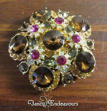 Janie Bryant Stacked Rivoli Topaz Pink Large Rhinestone Pin Brooch Pendant...CEM