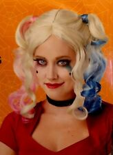 """Blonde Wig w/ Pink Blue Pig Tails - 14"""" adult one size fits most - HALLOWEEN NEW"""
