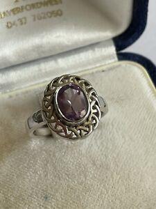 Vintage 925 Silver & Amethyst Solitaire Celtic Style Dress Ring Size L 3.6 Gram