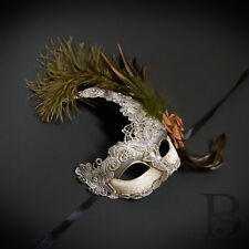 Venetian Goddess Brocade Lace Masquerade Ball Mask with Feathers [Silver]