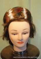 "Cute Vintage 50's 60's Multi-Color Feather Puffed Rounded Pillbox Hat 21"" Inside"