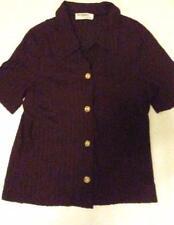 Pre-owned LA SPEZIA Women's Plum Lace Button Down Short Sleeve Shirt Size 42