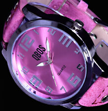 QBos XXL Damen Armband Uhr Pink Silber Farben L40 B-Ware