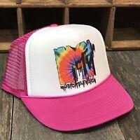 MTV Tie Dye Trucker Hat Vintage Music Television 80's 90's Snapback Cap! Pink