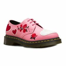 DR. MARTENS AIR WAIR 1461 HEARTS GERANIUM PINK+WHITE LEATHER NEW UK 5 EU 38