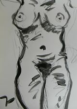 JOSE TRUJILLO - ABSTRACT ACRYLIC PAINTING NUDE WOMAN Black & White ARTIST SIGNED