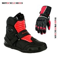 Men's Motorcycle Short Ankle Racing Boots & Motorbike Leather Gloves Armoured CE