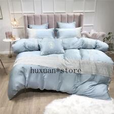 60S Tencel Lace Classic Bedding Set Silky Duvet Cover Sets Bed Sheet 4/6/7Pcs