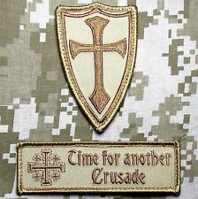 INFIDEL CROSS CRUSADER USA ARMY DESERT MORALE 2 HOOK PATCH SET