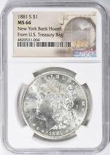 """1881-S MORGAN SILVER DOLLAR NGC MS-66  """"A GEM"""". NY BANK HOARD"""