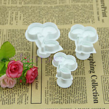 3pcs Cherry Sugarcraft Cookie Plunger Cutters Tools Fondant Cake Decorating Mold