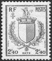 "FRANCE TIMBRE STAMP N°734 ""LIBERATION DE METZ, ARMOIRIES"" NEUF XX TTB"