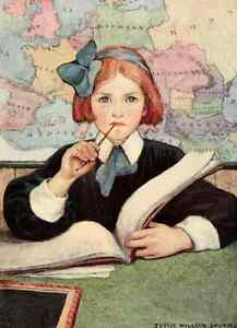 Postcard: Vintage Repro Print - Schoolgirl w Red Hair, Book, Map & Pencil