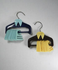 Vtg Tie Necktie Rack Closet Organizer Plastic Blue Yellow 18 Hangers Each