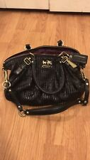 COACH 15942 gathered MADISON leather SOPHIA SATCHEL Handbag shoulder, Black