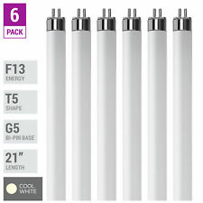 "6 Pack F13T5 CW 41K Tube 21"" Inches 13W Watt Mini Bi 2-Pin G5 4100K Cool White"