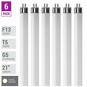 "6 Pack F13T5 CW 41K Tube 21"" Inches 13W Watt Mini Bi 2-Pin G5 4100K Cool White"