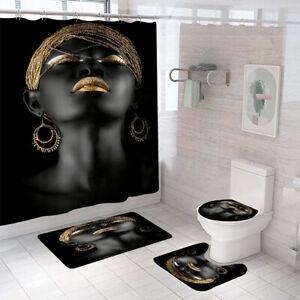 Golden Black Woman Bathroom Rug Set Shower Curtain Toilet Lid Cover Bath Mat Set