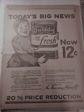 New listing Jan 21, 1924 Tobacco Newspaper Page #J7142- Fresh Tuxedo Tobacco