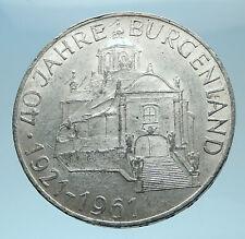 1961 AUSTRIA with Burgenland Anniversary Genuine Silver 25 Schilling Coin i78032