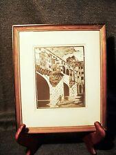 Antique Signed Framed Woodcut of Bruges Belgium J.D.H. Gondola on Canal w/Bridge