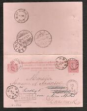 Netherlands Indies Stationery Postcard 1893 to Denmark Brindisi Agent Singapore