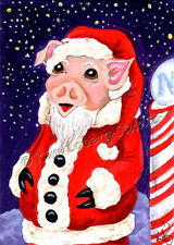 Santa Piggy original ACEO mini Loberg art Christmas fantasy painting North Pole