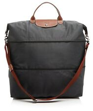 NWT Longchamp Le Pliage Expandable Travel Weekender Crossbody Bag GUNMETAL GREY