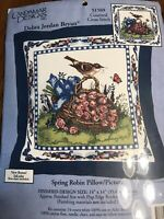 CANDAMAR DESIGNS Counted Cross Stitch Kit SPRING ROBIN PILLOW/PICTURE #51569
