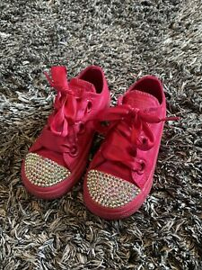VERY GOOD CONDITION - RARE CONVERSE HOT PINK CRYSTAL TRAINERS - 24 UK 8