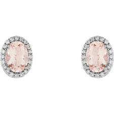 Genuine Morganite Oval Gemstones & 1/5 ctw Diamonds Stud Earrings 14K White Gold