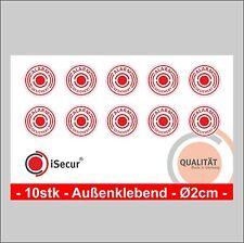 10 Stück Aufkleber Alarm Alarmgesichert, innenklebend, 20mm Durchmesser Art. 004
