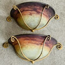Muller Freres Luneville Art Nouveau Pate De Verre Rare Pair Of Glass Wall Lights