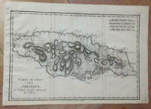 JAMAICA 1780 by RIGOBERT BONNE ANTIQUE COPPER ENGRAVED MAP 18TH CENTURY