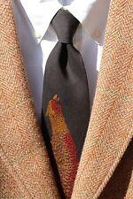 Polo Ralph Lauren Black, Brown, Rust Pheasant Print Silk Tie - $65.00