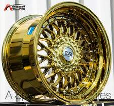 17X8.5 17X10 +15 ESM 002 4X100 GOLD CHROME WHEEL FIT BMW 2002 E21 E30 STAGGERED