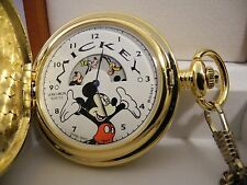 (COLIBRI) VERICHRON DISNEY MICKEY MOUSE ROTATING DIAL POCKET WATCH NEW WOOD BOX