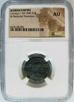 Licinius Roman Empire BI Billon Nummus NGC AU Ancient House of Constantine Coin