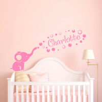 Personalized Girl Name Wall Decal Elephant Name Sticker Nursery Decor F61