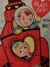 "#182 Vintage Valentine Card Astronaut Kid's Space Capsule "" Blast Off With Me """