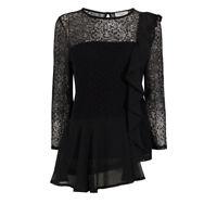 Coast Women's Merve 3/4 Sleeve Lace Black Shirt Top Size 10