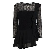Coast Women's Merve 3/4 Sleeve Lace Black Top Size 10