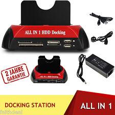 2.5''/3.5''ESATA Double IDE HUB USB HDD Docking Station Disque Dur Lecteur Carte