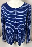 Freeloader Women's Blue & White Stripes Top Long Sleeve Size Small